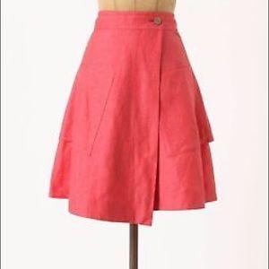 Anthropologie Postmark Linen Wrap Skirt w/ Pockets